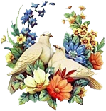 doves drawing with flowers